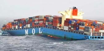 Shell plate buckling eyed in box ship break up