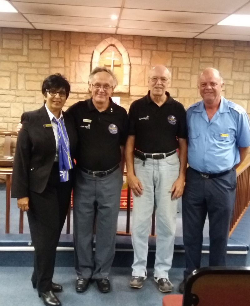 The Durban Sailors Society Team at the International Day of the Seafarer. Jessie John (ship visitor) Chris Nichol (member) Andre Welgemoed (member) Rev Paul Richardson  (chaplain).